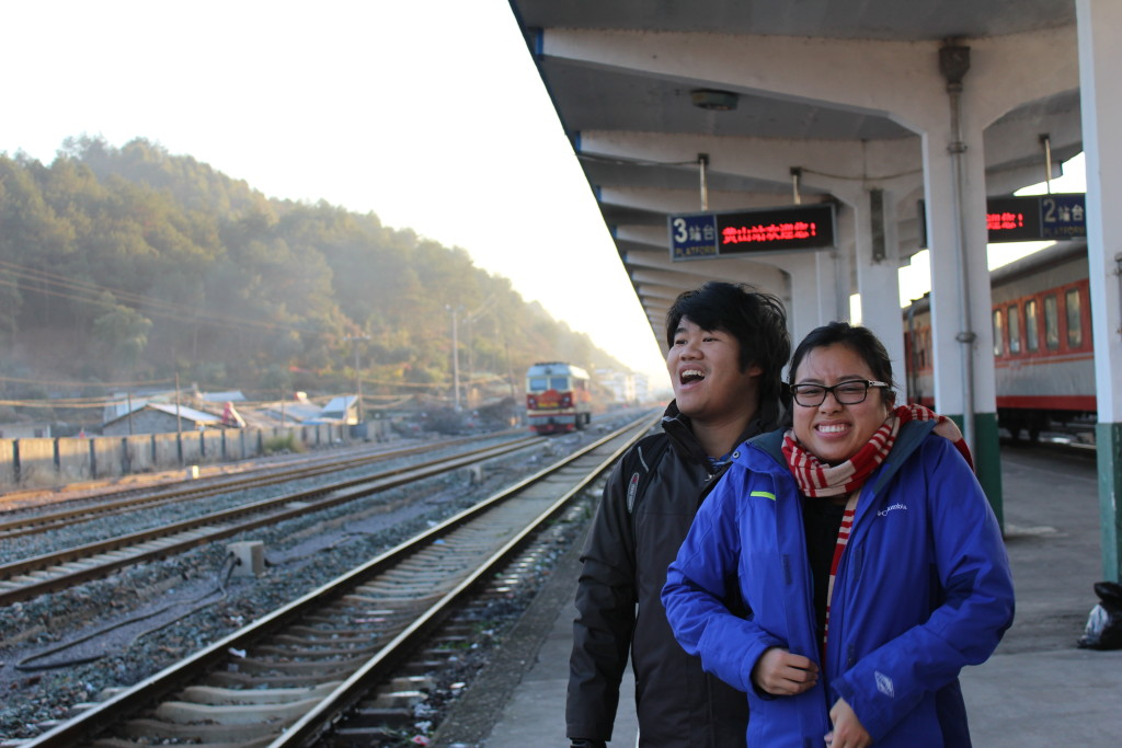 Taking in the brisk, clean air of the Anhui countryside.
